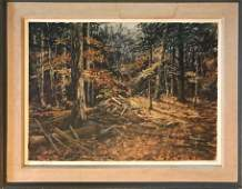 American Forest Timber Landscape Painting, C.N.Eckstrom