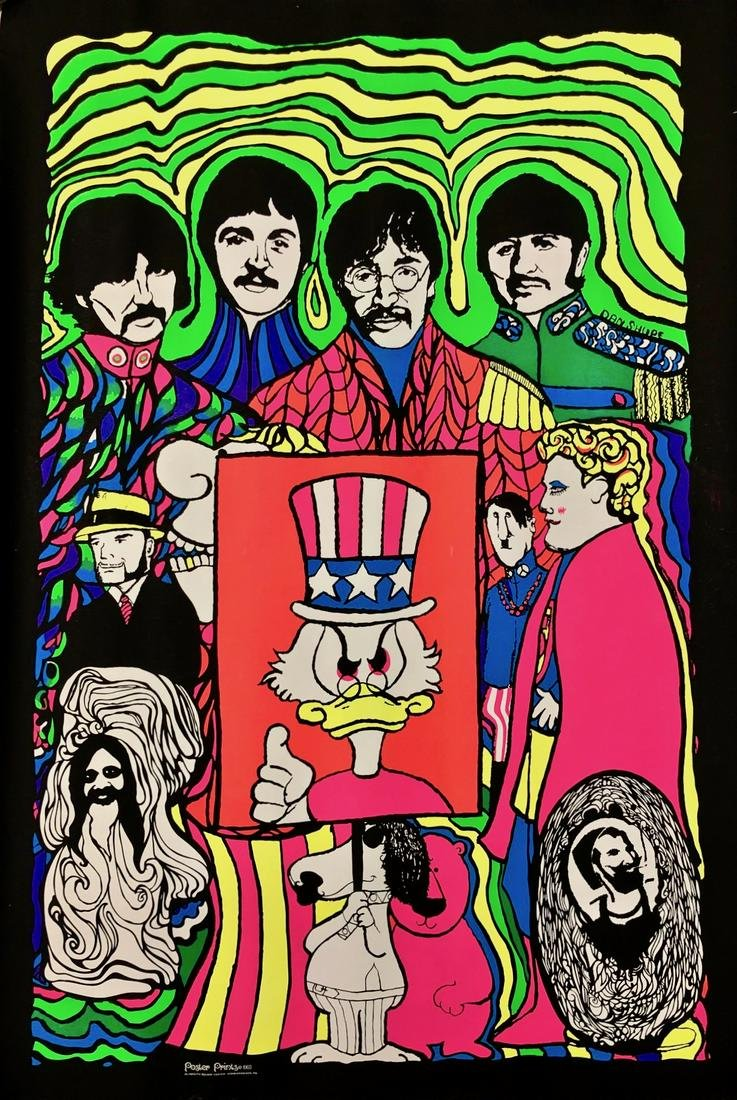 BEATLES Original BLACKLIGHT PSYCHEDELIC POSTER 1968