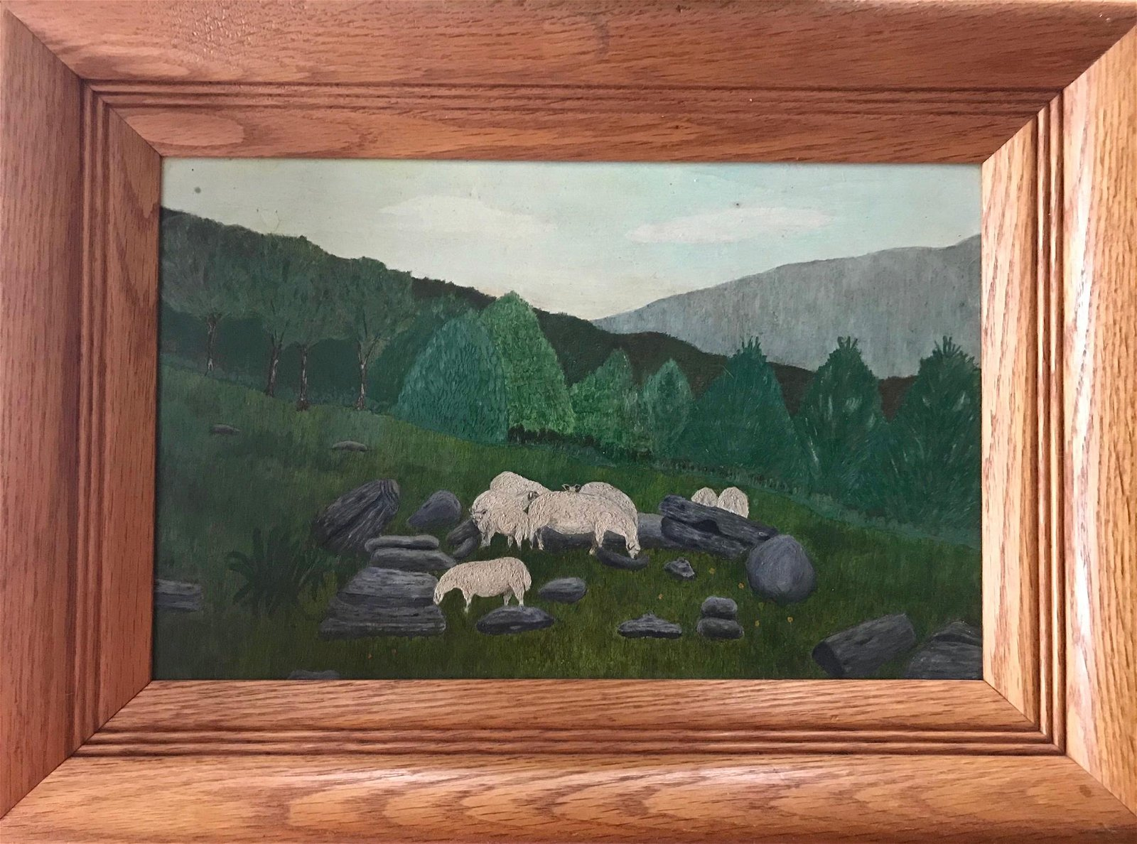 Folk Art Mountain Landscape Painting With Grazing Sheep