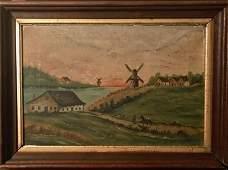 19th c. Dutch Coastal Sunset Landscape Painting