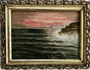 Impressionist Evening Seascape Painting Signed LMZ