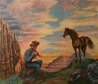 Western Pulp Art Illustration Painting