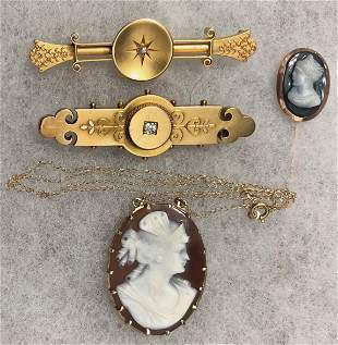 A Collection Of Victorian Gold Jewelry