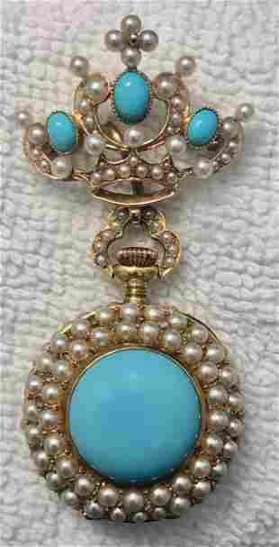 18k Locket Pendant Watch W/ Diamonds,Turquoise & Pearls