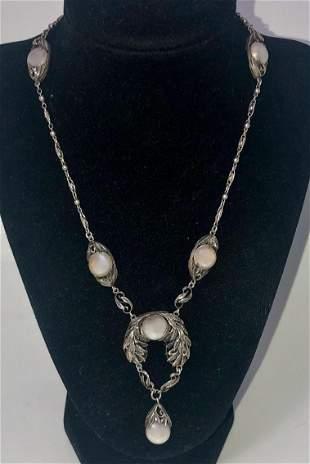 Art Nouveau Sterling Floral Mabe Pearl Necklace