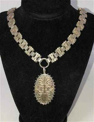 Victorian Sterling Book Chain Necklace Locket 1880s