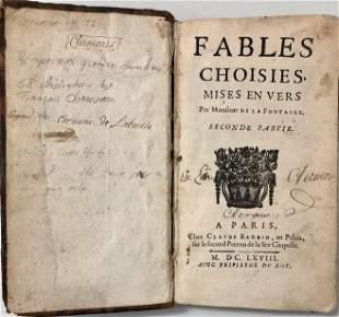 FABLES OF JEAN DE LA FONTAINE,1668