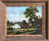 MP Elliott English FOX HUNT Oil Painting