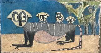 Mid-Century Surreal Oil Painting LEMUR FAMILY Signed