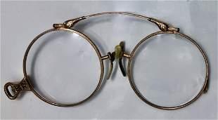 19th Century Victorian Gold Folding Lorgnette