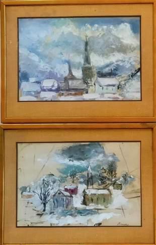 Pair Of Impressionist Landscape Paintings Bauer 1930s