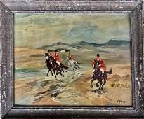 English School Fox Hunt Equestrian Landscape Painting