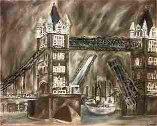 MidCentury London Tower Bridge Painting CRedd