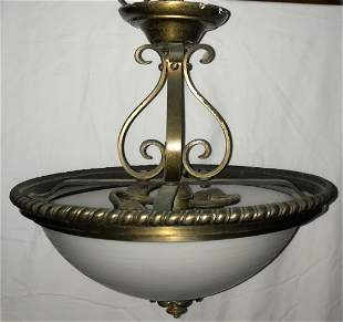 Art Deco Etched Glass Dome Chandelier