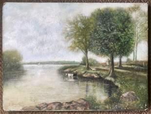 19th C River Landscape w Cows Oil Painting JBerger