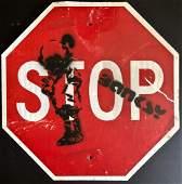 BANSKY URBAN GRAFFITI STREET ART STOP SIGN