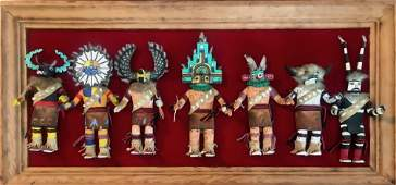 Seven Carved & Painted Kachinas, Mary Calvin c.1950s