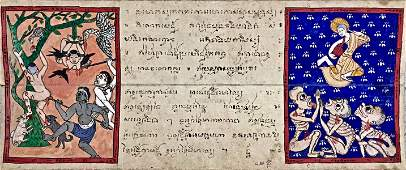A Manuscript Of Buddhist Visions Of Heaven & Hell