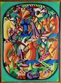 Haitian Folk Art Abstract Painting, LeGrand 1960s