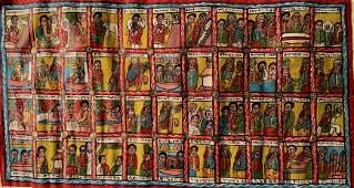 Ethiopian Coptic Narrative Folk Art Painting, Signed