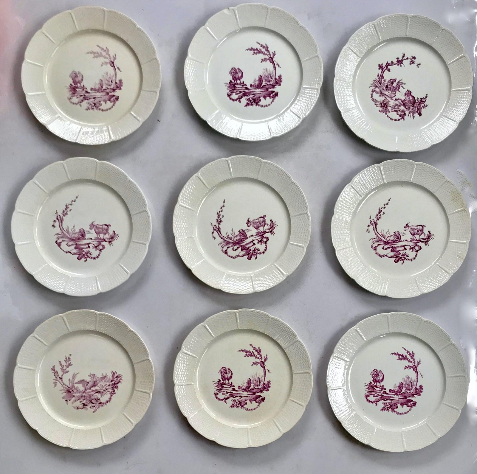 Antique Wedgwood Mennecy Dinner Plates, England (9)