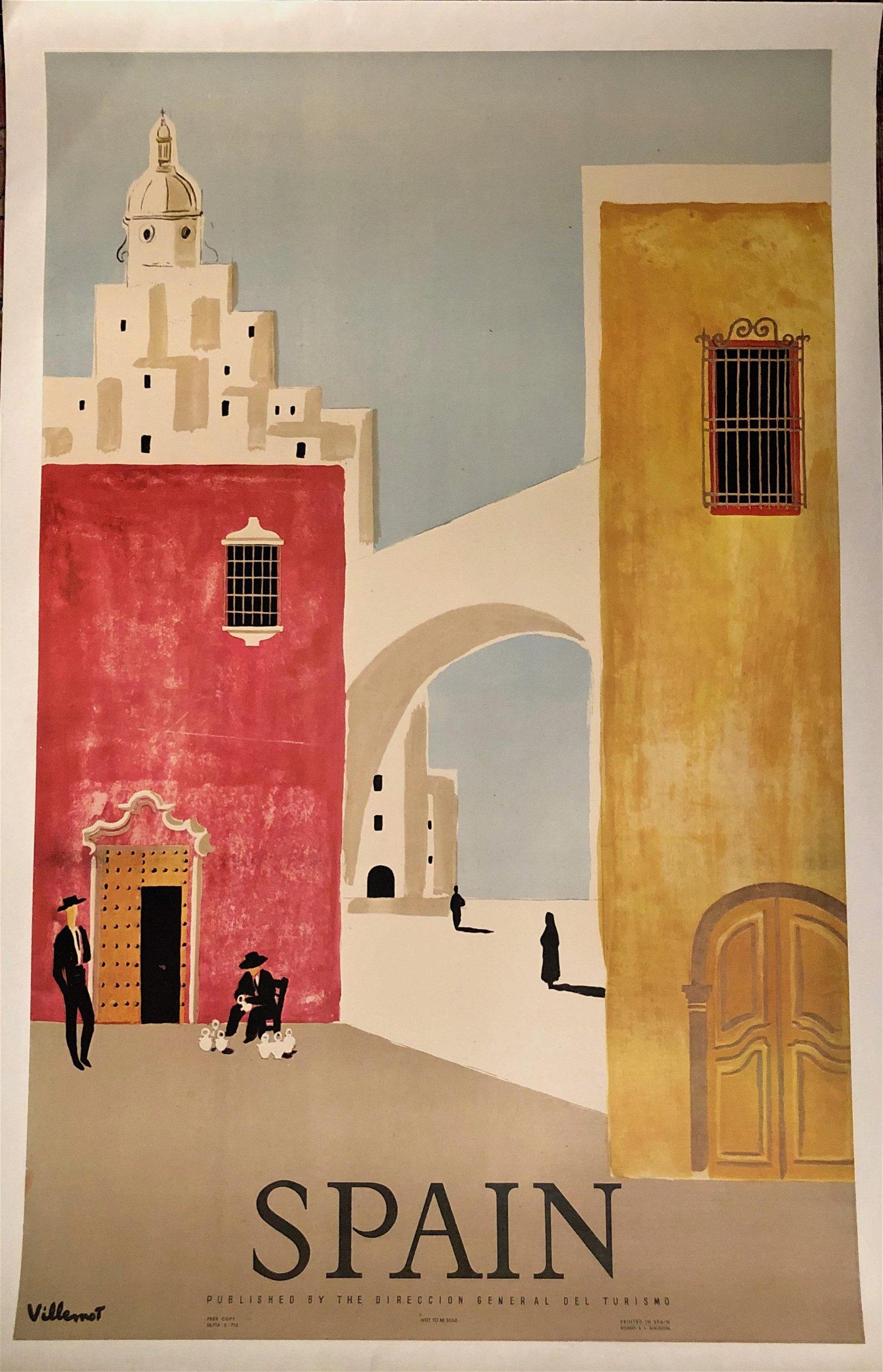 Original Vintage Spain Travel Poster, Villemot 1950s