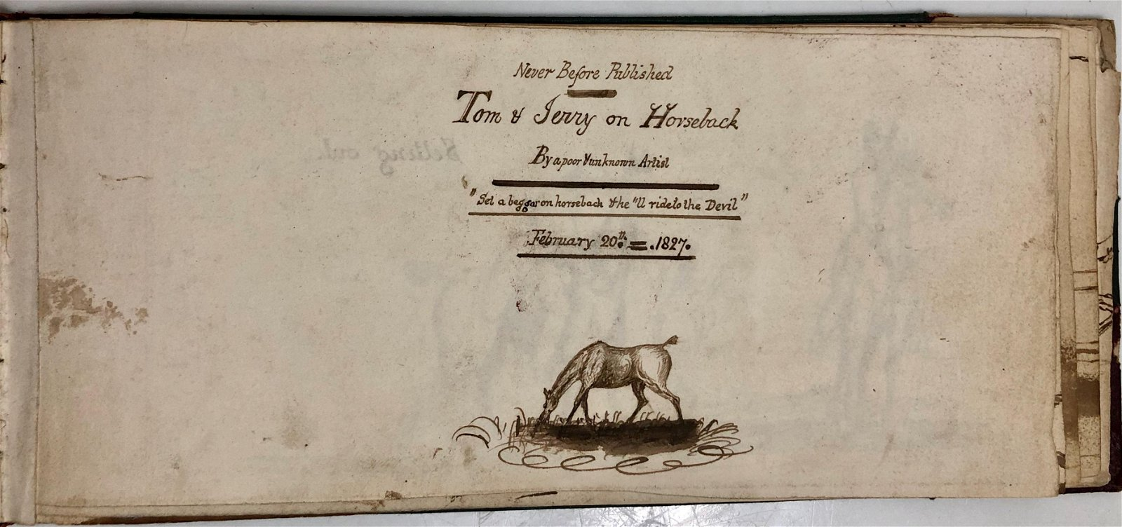 TOM & JERRY ON  HORSEBACK  Original Drawings 1827