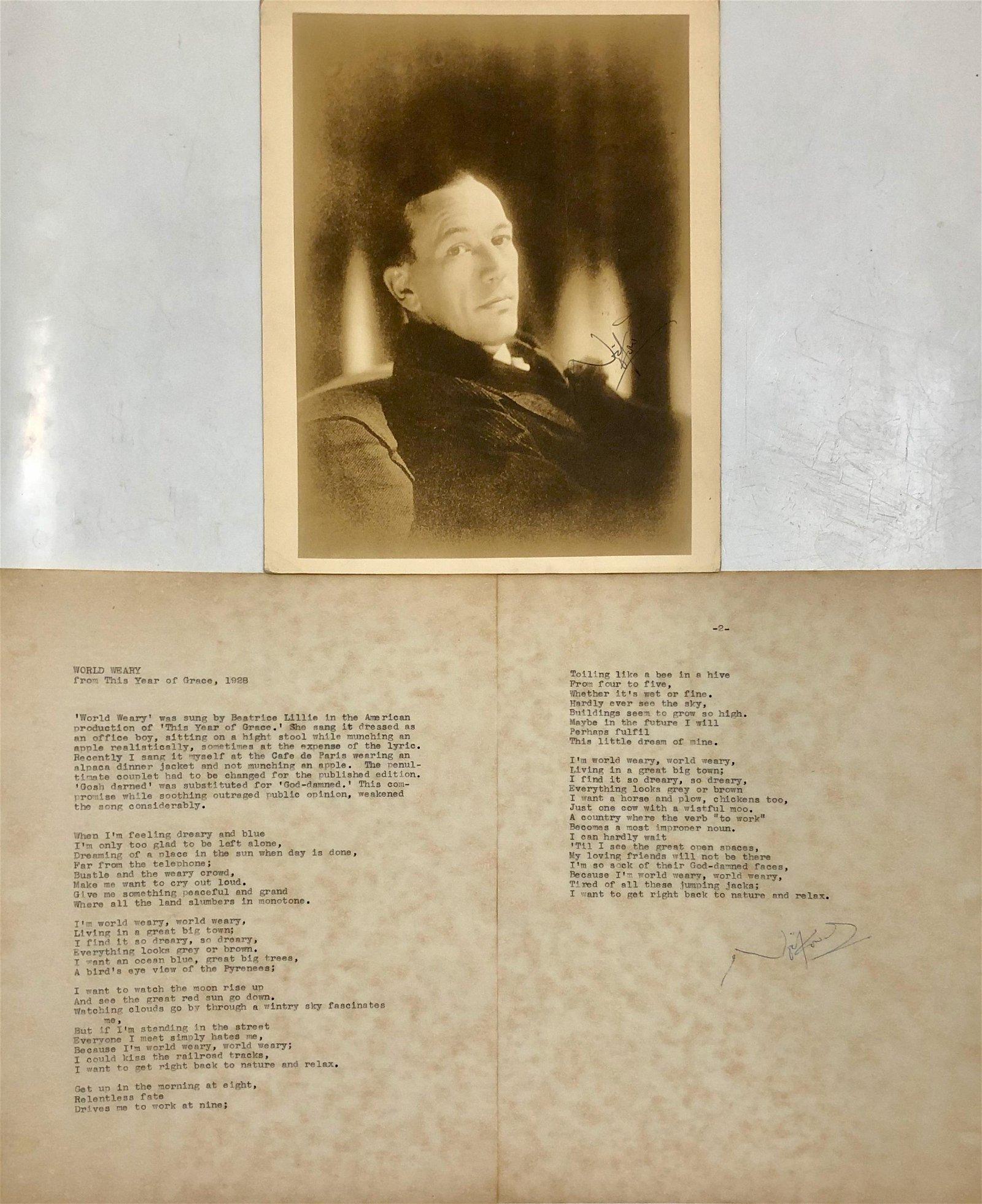 Noel Coward Inscribed Photograph & World Weary Lyrics