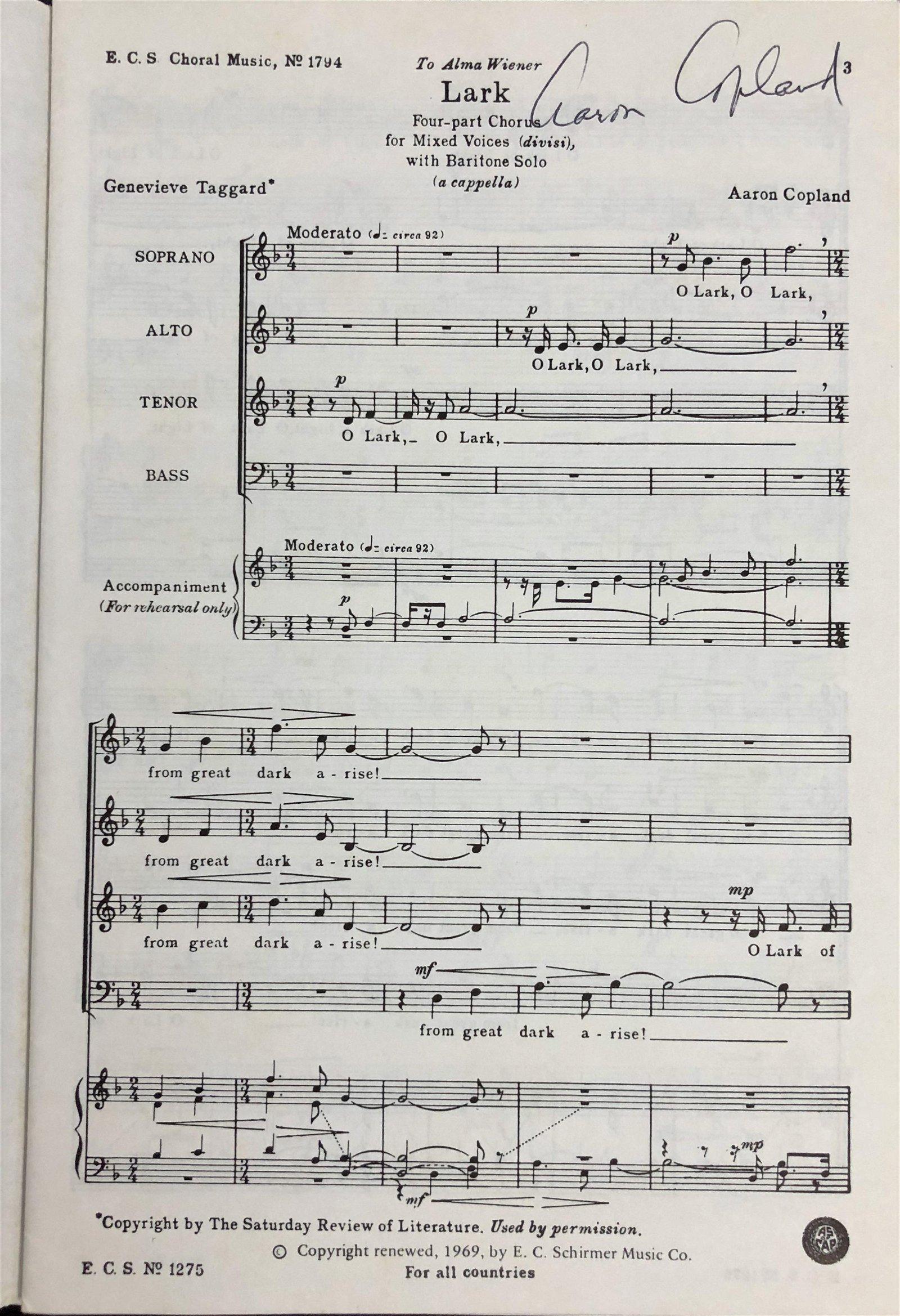 Aaron Copland Hand-Signed Music Score: LARK  1969