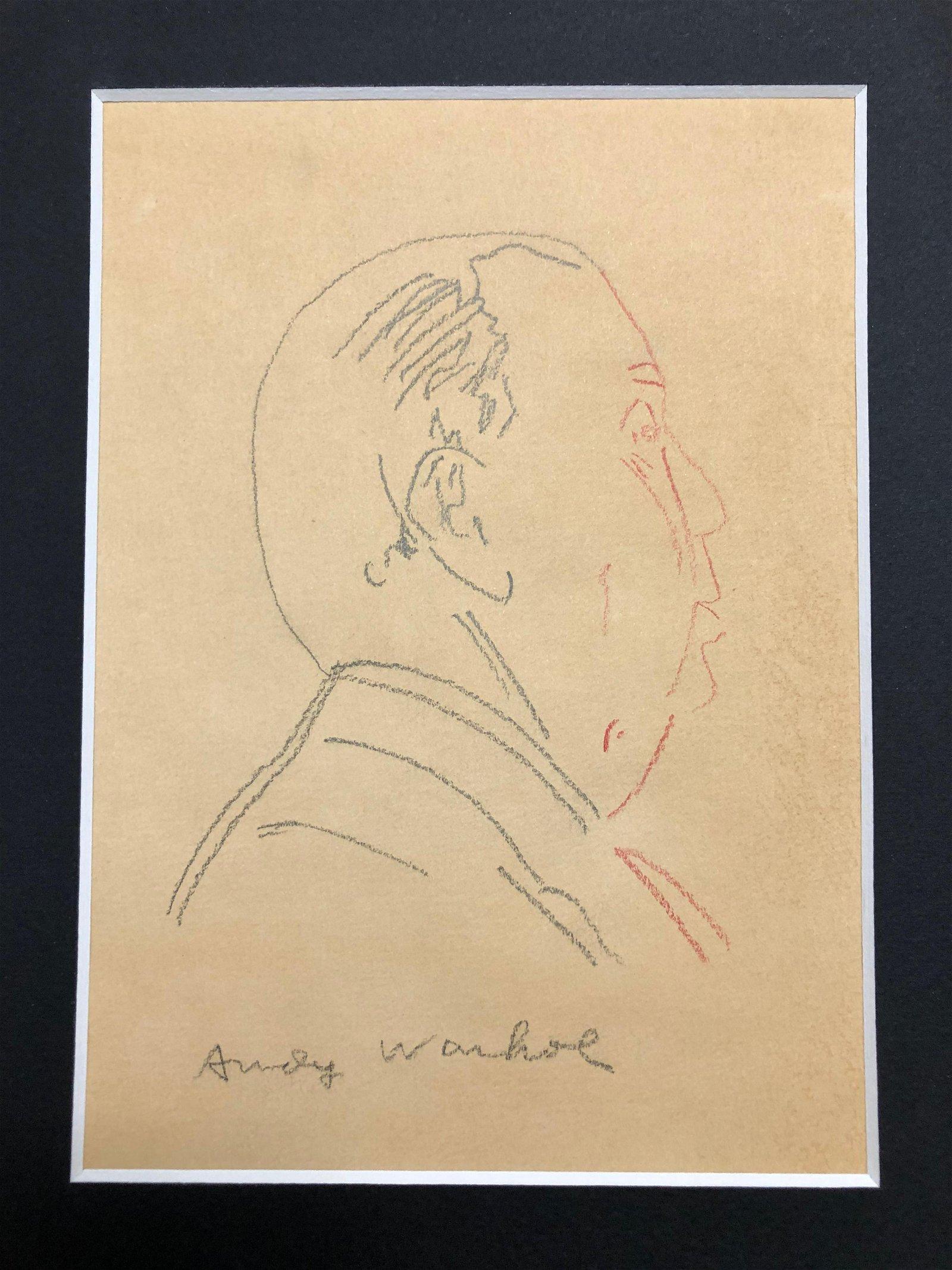 Andy Warhol Original Drawing ALFRED HITCHCOCK