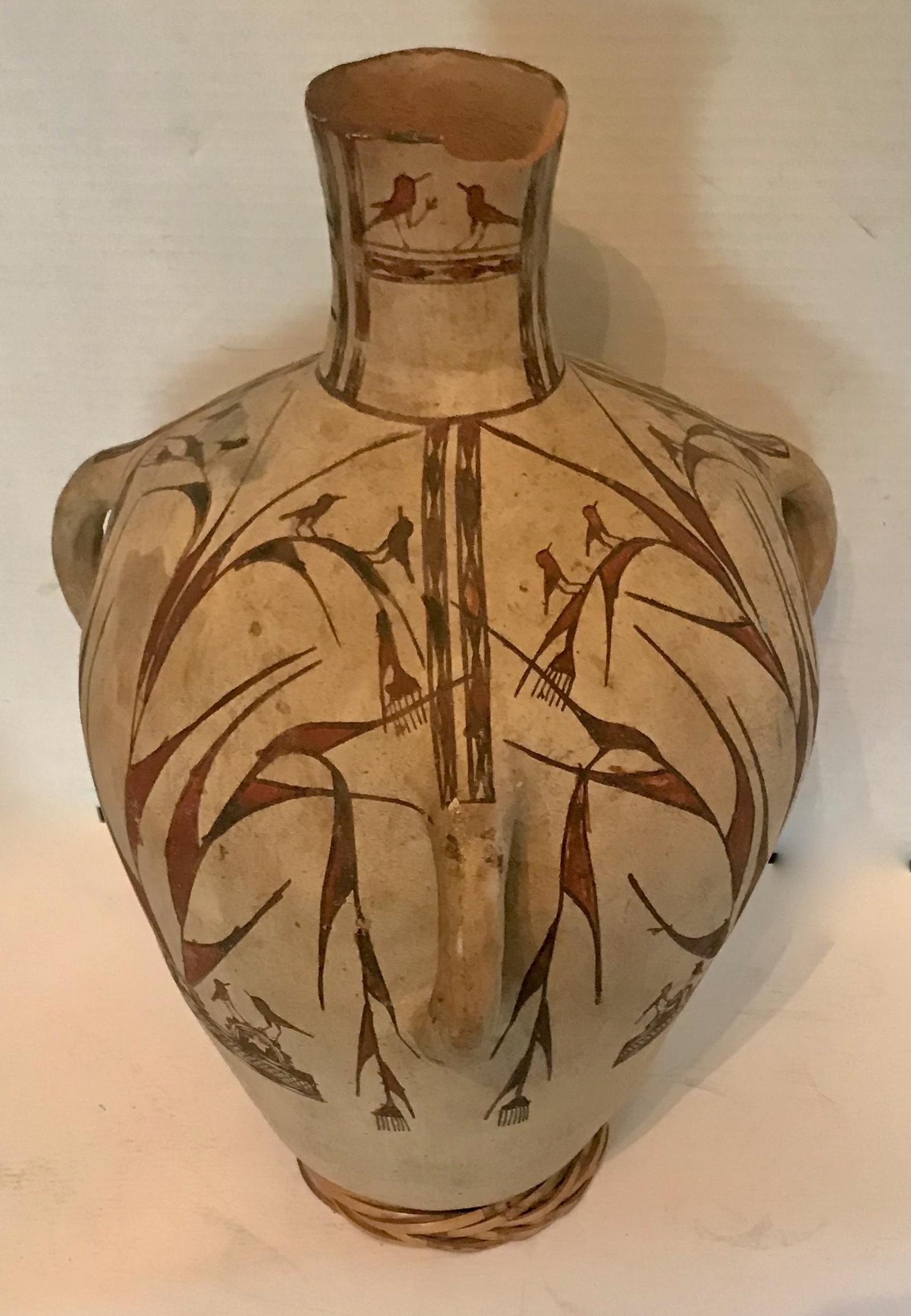"Antique Native American Polychrome Pottery Vase  H: 20"""