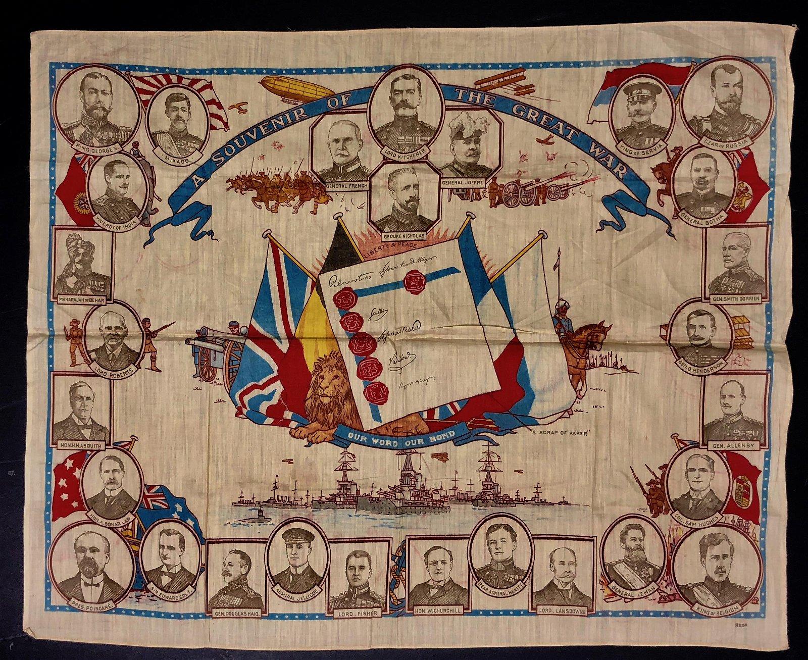 WW1 Souvenir Of The Great War Silk Scarf c.1915