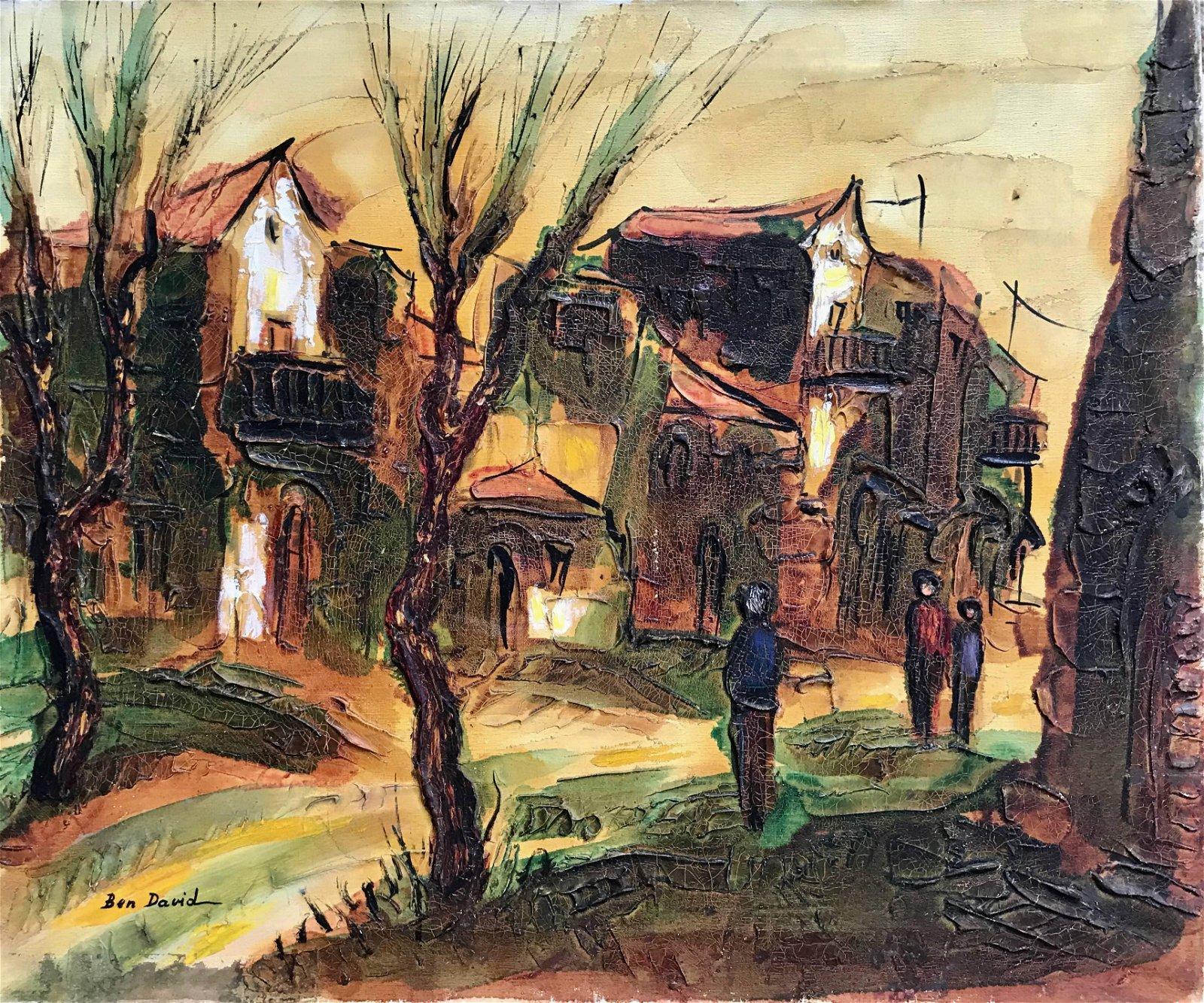 Israeli Abstract Impasto Village Painting BEN DAVID