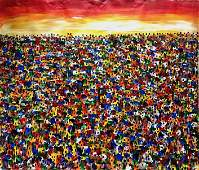 South African Village Abstract Landscape Panting, Bikis