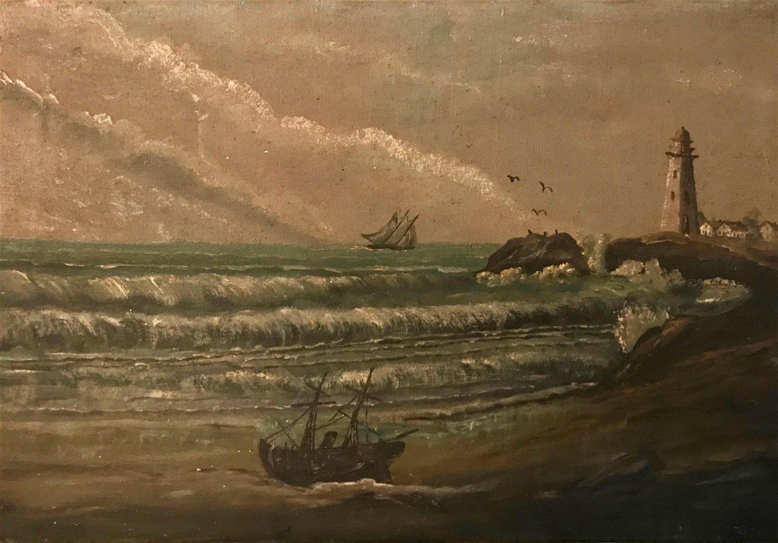 19th Century European Maritime Seascape Oil Painting