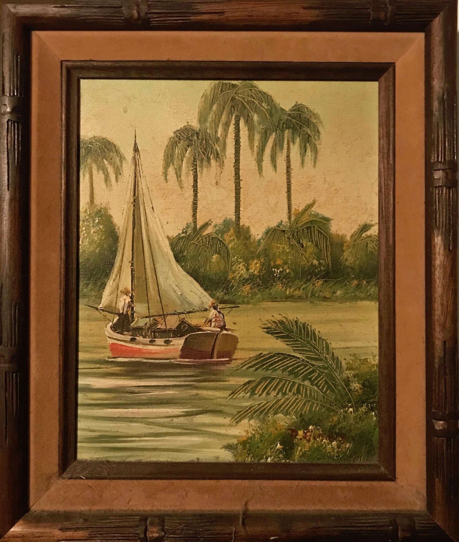 Tropical River Landscape Painting, Donald Gibbs 1970s