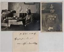 PAUL VON HINDENBURG Inscribed Note & Photos, 1917