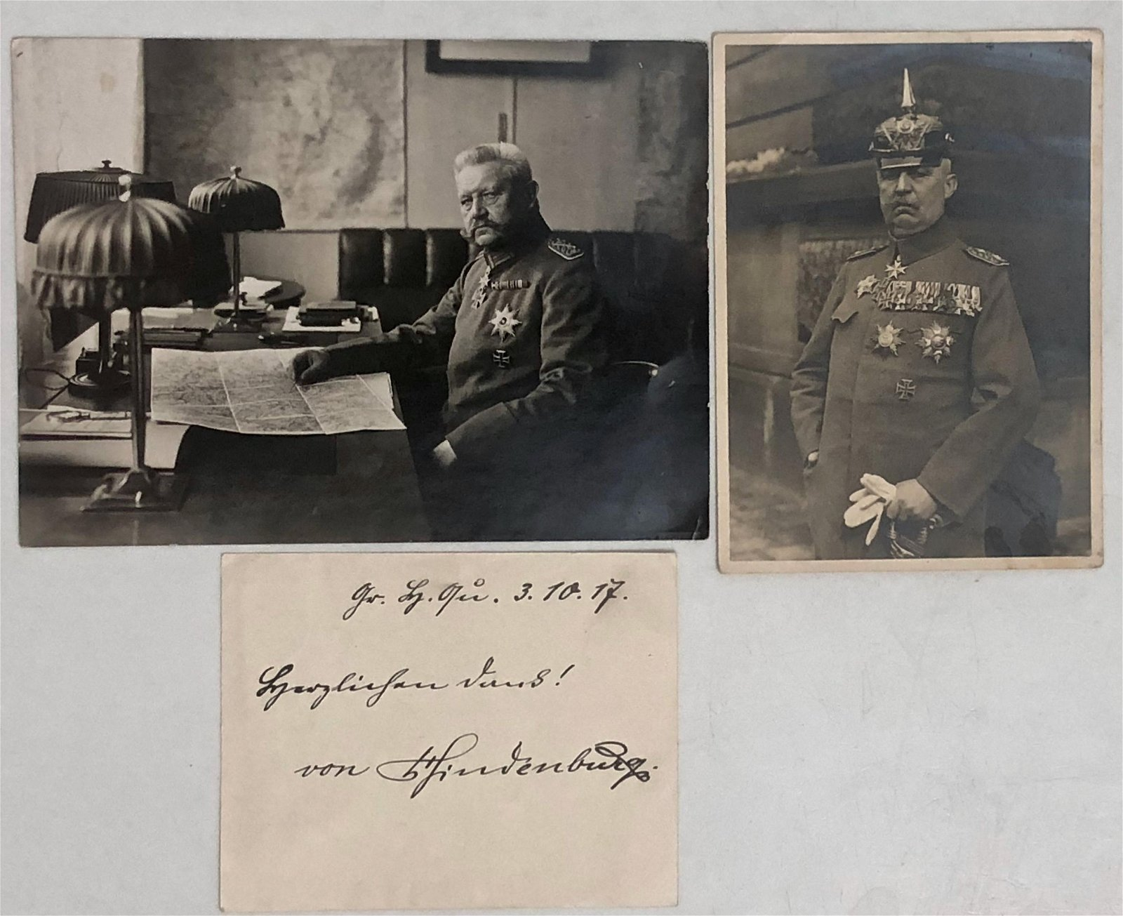 PAUL VON HINDENBURG Inscribed Note & Photos, 1917