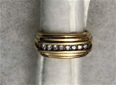 Vintage 14k Yellow Gold Band Ring Set w/ Diamonds