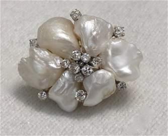 Vintage 14k Brooch Pendant W/ Diamonds & Pearls