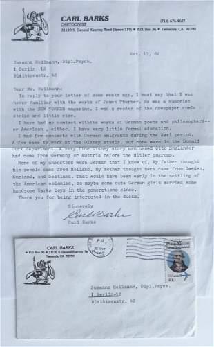 Cartoonist Carl Barks Signed Letter WALT DISNEY DUCKMAN
