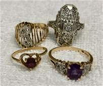 14k Yellow Gold Rings Set W Diamonds  Amethyst 4