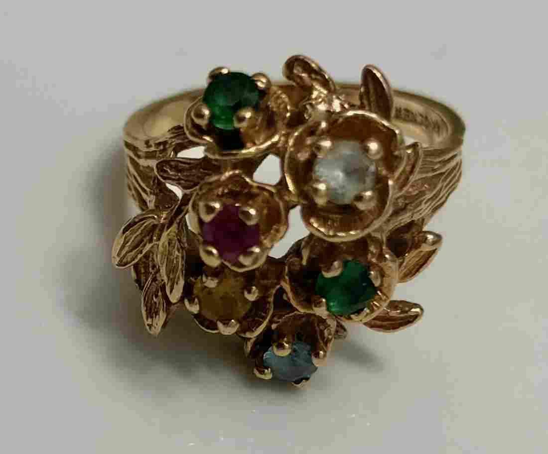 14k Yellow Gold Ring Set W/ Multi-Colored Gemstone