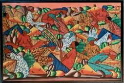 Haitian Folk Art Market Painting J.N. Jacques, 1960s