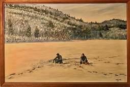 Jim Cramer Winter Landscape Oil Painting ICE FISHING