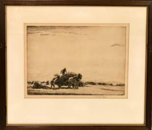 George Soper (British, 1870-1948) Gathering Hay
