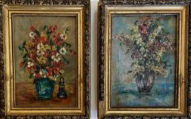 Pair of French Miniature Floral Oil Paintings, VIRET