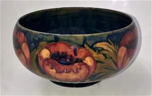 William Moorcroft Ochre Big Poppy Console Bowl, 1920s