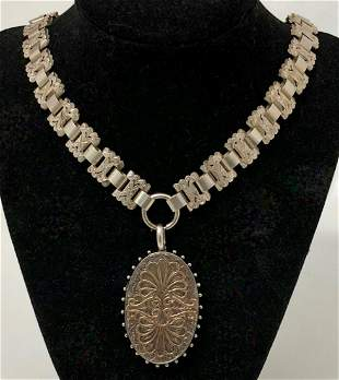 Victorian Sterling Book Chain Locket Necklace, 19th c.