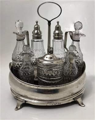 19th C. English Georgian Sterling Silver Cruet Set